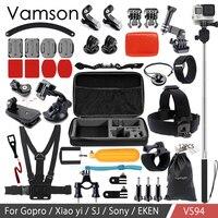 Vamson For Go Pro Accessories Kit Monopod Chest Strap For Xiaomi Yi 4k For SJCAM SJ4000