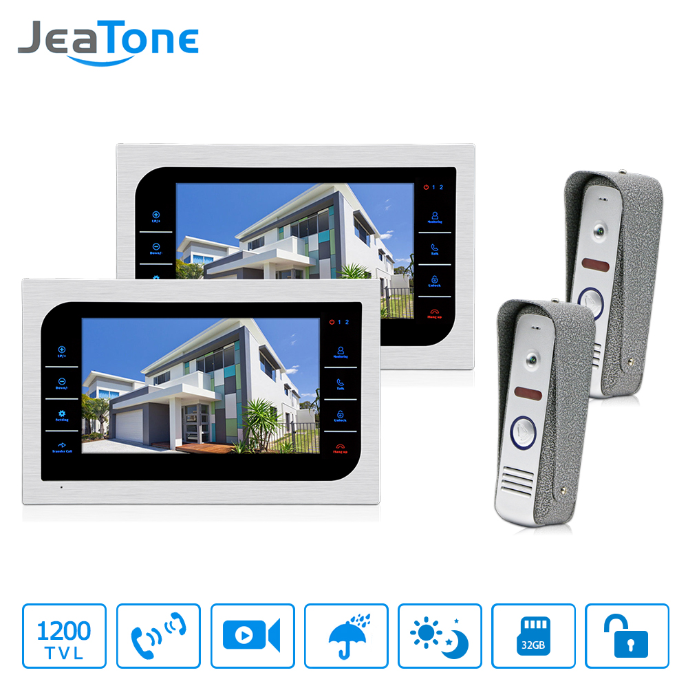 JeaTone Door Access Control 7 LCD Display Video Doorbell Door Phone 1200TVL Home Security Camera Intercom Kit jeatone 7 lcd monitor wired video intercom doorbell 1 camera 2 monitors video door phone bell kit for home security system