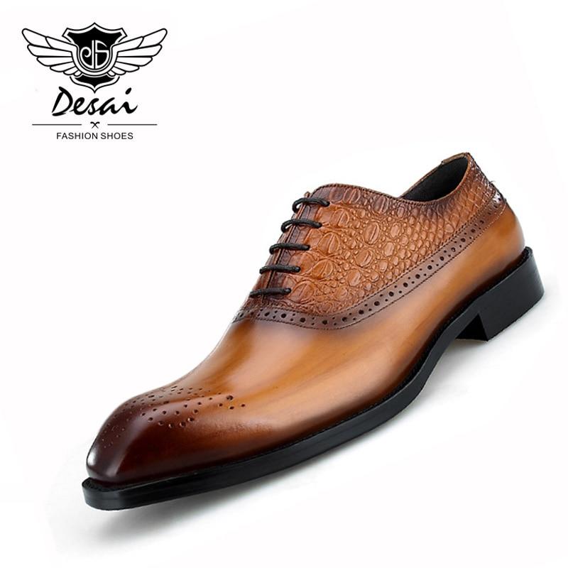New Arrival Shoes Men SquareToe Business Bullock Carved Dress Shoes Cowhide Leather Shoe Men s Formal