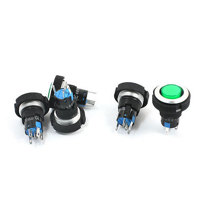 24V 22mm SPDT 1NO 1NC 5Pin Momentary Green Pilot Lamp Push Button Switch 5 Pcs  lxw5 11d1 push button actuator basic limit switch microswitch no nc spdt