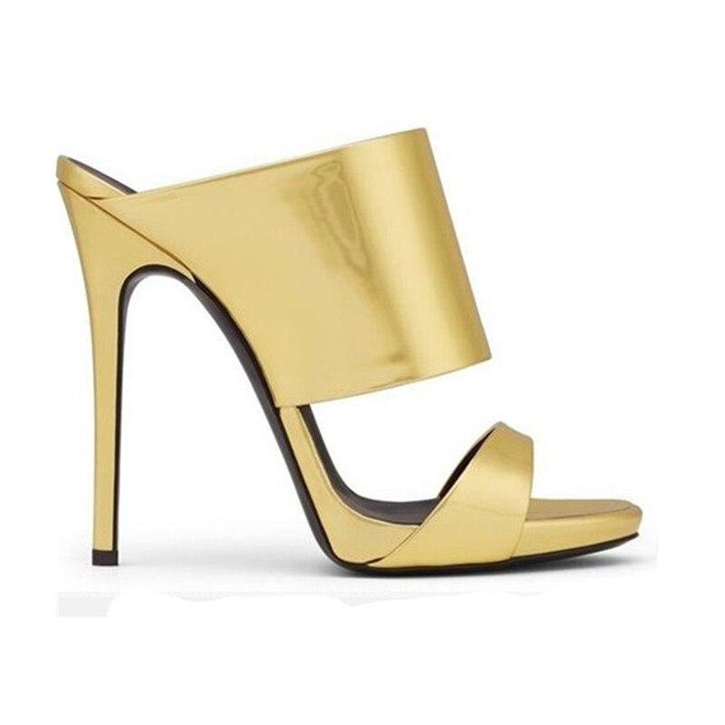 argento 43 Muli Oro Di Sottili Deisgn champagne Delle Sexy Big Size Karinluna Pattini Estate Donne Quality Top Pompe Donna Tacchi Alti Marca Scarpe 33 rdCxshotQB