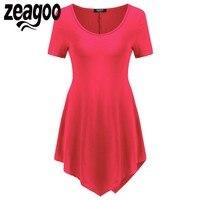 Zeagoo Women Fashion T Shirts Casual V Neck Short Sleeve Comfy Asymmetrical Hem Tunic Tops Beach