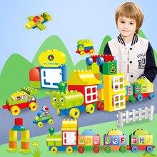 DIY Big Size Bricks Sticker Building Blocks Number/Letters Train Model Educational Toys For Children цена 2017