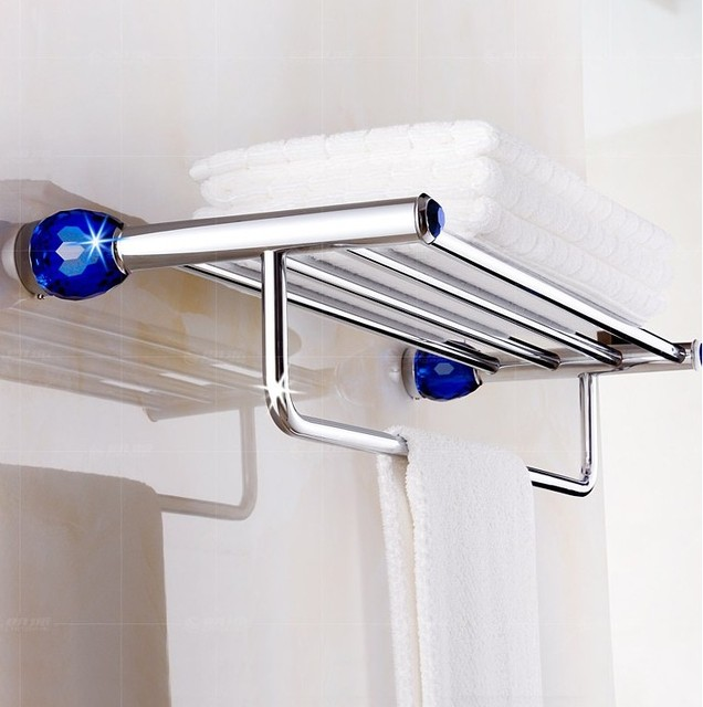 Copper Material Luxury Crystalu0026Chrome Finish Design Towel Rack,Modern  Bathroom Accessories Towel Bars Shelf,