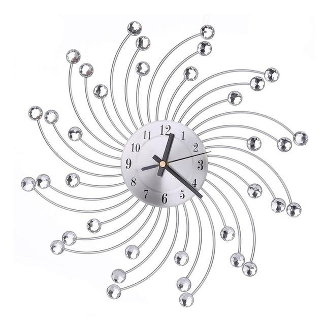 European Style Indoor Metal Wall Clock Decorative Clock Diamante Quartz Silent  Clock For Living Room Bedroom