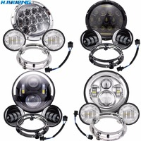 80w 7 Inch Harley LED Halo Headlight & 4.5 Inch Fog Light For Harley Electra Glide Touring FLHR FLHT Motorcycle Parts 7 Bracket