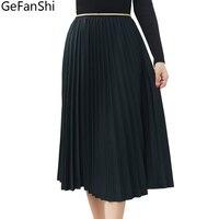 Jesień Zima Nowych kobiet Spódnica Stałe Spódnice Plisowane Spódnice Czeski Style Fashion Śliczne Damskie Zielony Khaki Czarny