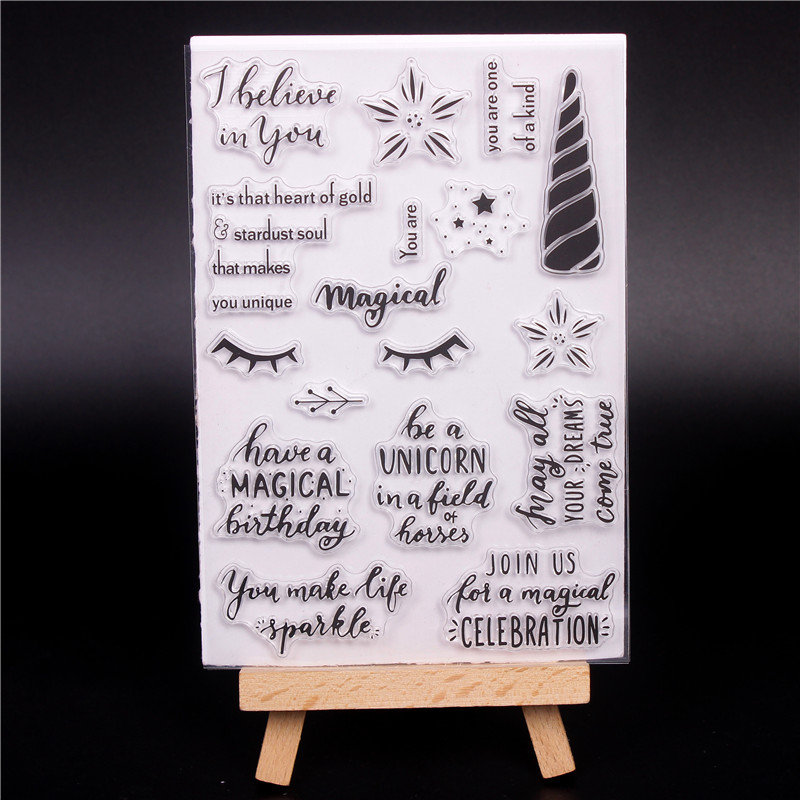2018 English word Rubber Silicone Clear Stamps for