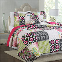 Famvotar Chic Bohemian Cotton Patchwork Quilted Coverlet Bedspread Set Vibrant Floral Print Queen King Size Summer Quilt(China)