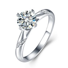 Solid Silver 0.5-3ct Lab Grown Diamond Moissanites 4 Prongs Solitaire with Accents Engagement Ring DEF Color VVS1(China)