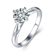 Solid Silver 0.5 3ct Lab Grown Diamond Moissanites 4 Prongs Solitaire with Accents Engagement Ring DEF Color VVS1