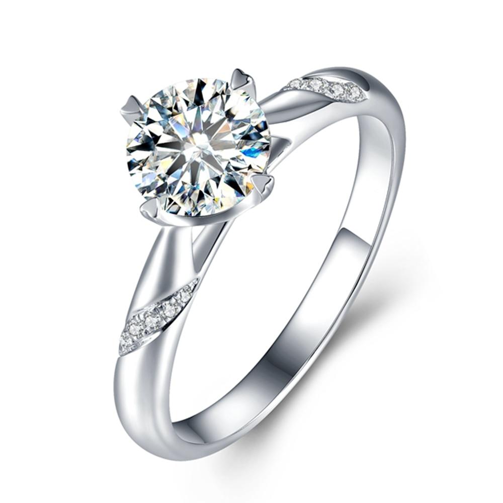 Solido 14K Oro Bianco 0.5 3ct Lab Grown Diamante Moissanites 4 Poli Solitario con Accenti Anello di Fidanzamento DEF colore VVS1-in Anelli da Gioielli e accessori su  Gruppo 1