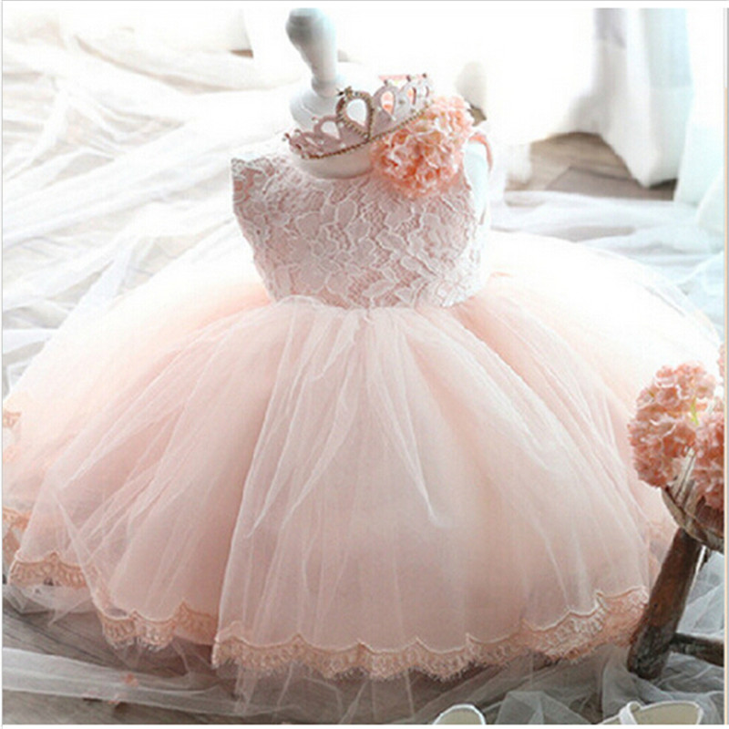 купить Pink White Lace Newborn Baby Dress Christening/Baptism Dresses with Cute Bow Toddlers Girl 1st 2nd Birthday Party Ball Gown по цене 650.24 рублей