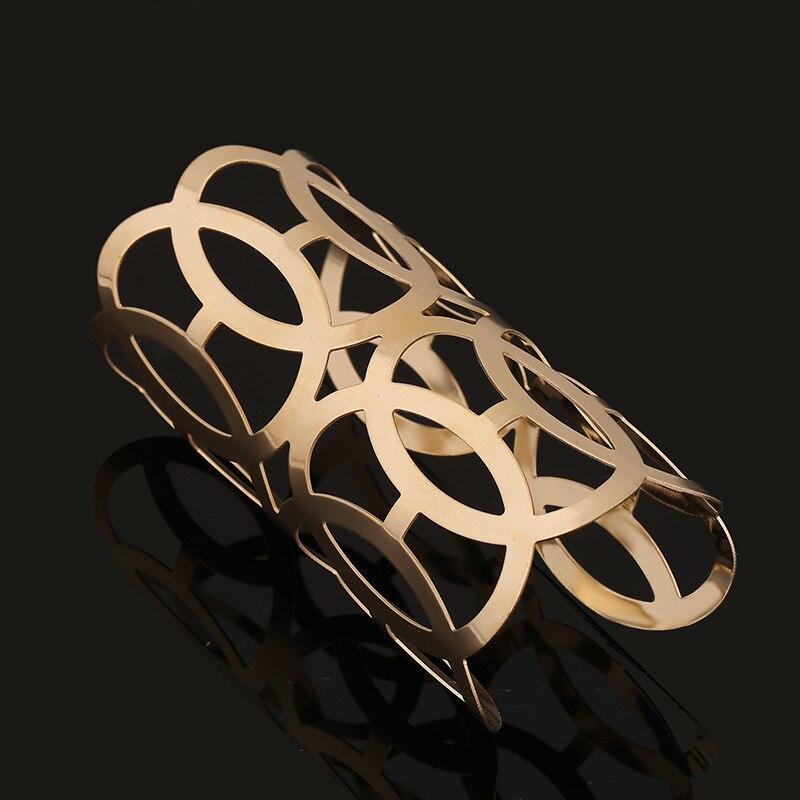 Dayoff Simple Gold Open Bangles Fashion Patterns intersect Hyperbole Bracelets For Women Jewelry Long Hollow Metal Bracelets B41