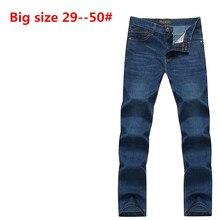 Плюс Большой размер: 50 48 46 44 42 9XL 8XL 7XL 6XL 5XL весна мужские ожирением высокое качество джинсовые брюки мужчины свободные прямые джинсы хлопок