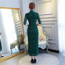 YZ Green Elegant Women Traditional Chinese Slim Dress Vintage Lace Sexy Ankle-Length Qipao New Arrival Lady Formal Cheongsam