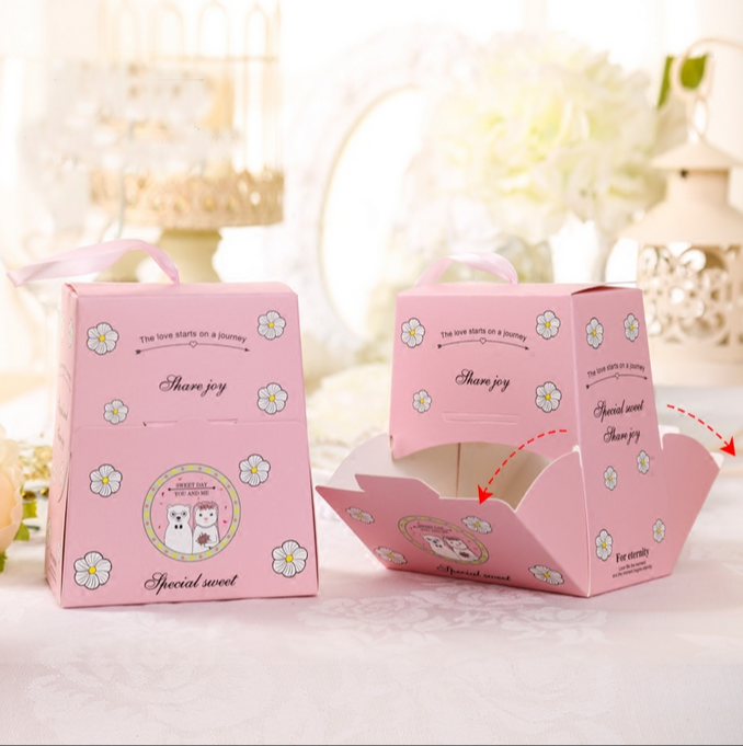 20 Pcs Pink / Blue Big Size Cartoon Bear Wedding Favors Candy Boxes Bomboniera Sachet Party Gift Box Paper Candy Gift Bags Мешок