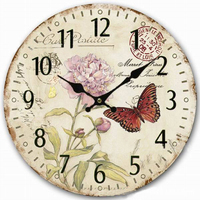 Modern Design Wooden Wall Clocks Rose Printing Home Watches For Living Room Office Den Bedroom