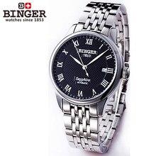 2016 новый Бингер повседневная спорт черный автоматическая сапфир часы водонепроницаемые Римские наручные часы Авто Дата человек полный стали смотреть relogio