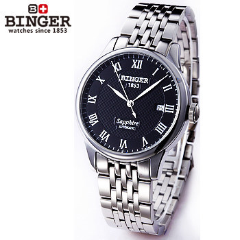 2017 new Binger casual sport black automatic sapphire watches waterproof Roman wristwatch Auto Date man full steel watch relogio