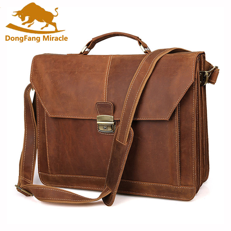Mens Rare Crazy Horse Leather Portfolios Bags Male Large Genuine Leather Business Briefcase Laptop Handbag Messenger Bag