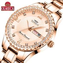 OLMECA Women Wrist Watch Fashion Auto Date Luxury Quartz Watches Relogio Feminino 30M Waterproof Clock Luminous Hands