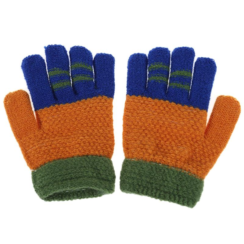 Winter Warm Baby Gloves Kids Knitted Stretch Mittens Boys Cartoon Full Finger Gloves Children Ski Gloves Kid Patchwork Hand Muff in Gloves Mittens from Mother Kids