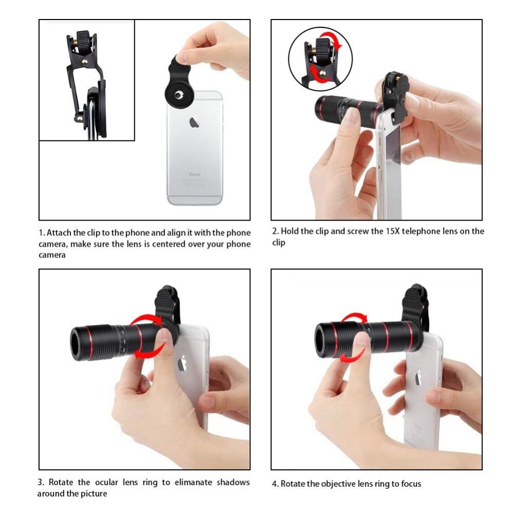 Kit de lente de Zoom de teléfono: lente teleobjetivo de alta definición 15X + gran angular y ojo de pez y lente Macro (2 lentes) para iPhone S amsung Android - 5