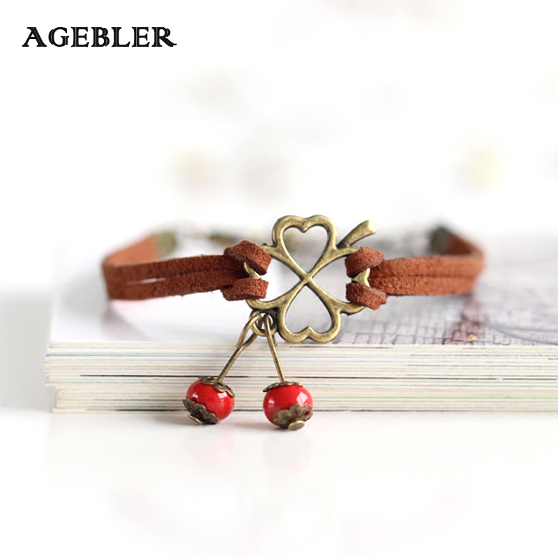 Fashion Bracelets For Women Handmade Ceramic bracelets & bangles Clover and Red Bead Pattern Pendant Leather Rope Jewelry Lucky