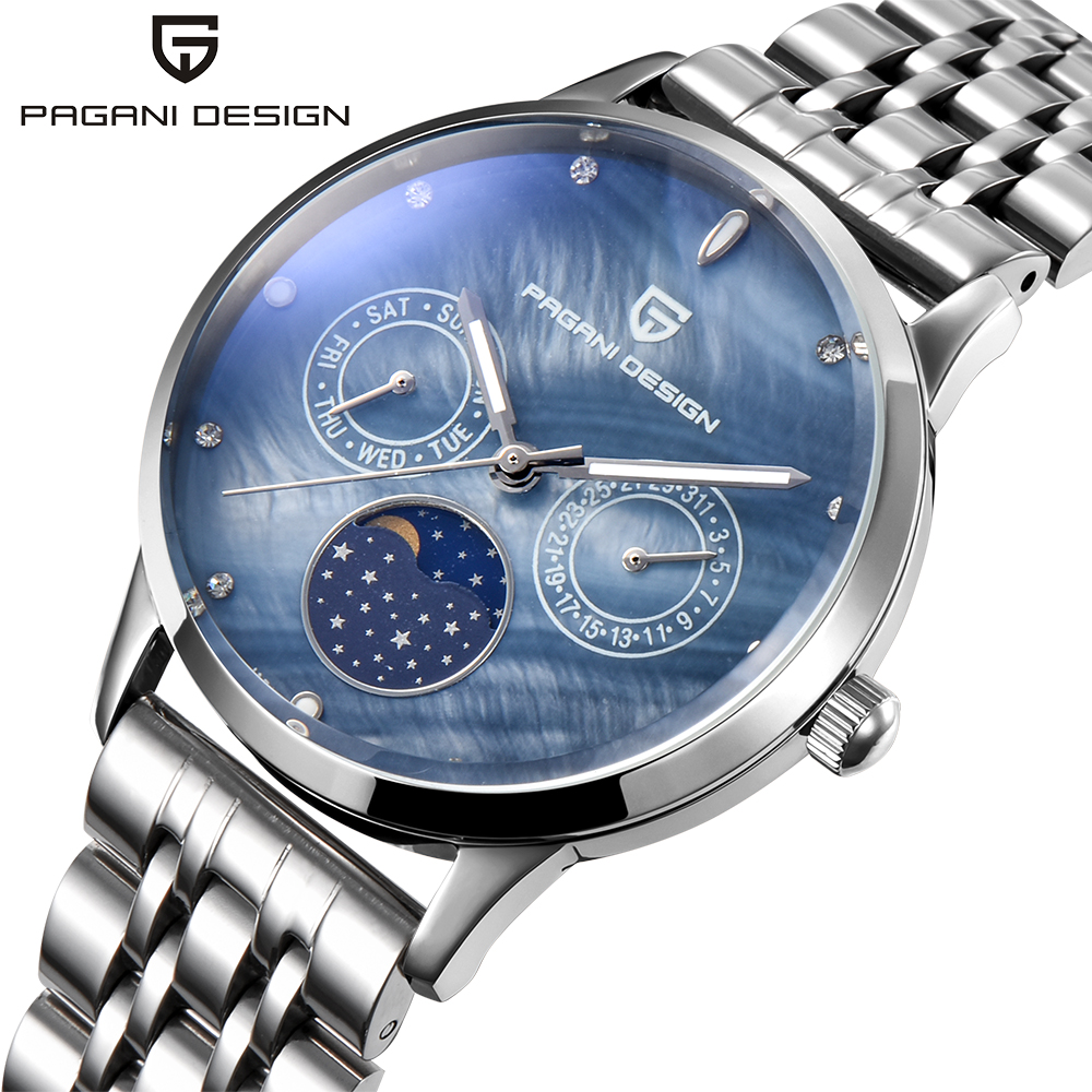 купить PAGANI DESIGN New Luxury Watch Women Shell Dial Full Steel Quartz Watches Fashion Casual Ladies Business Clock reloj mujer 2017 по цене 2658.24 рублей