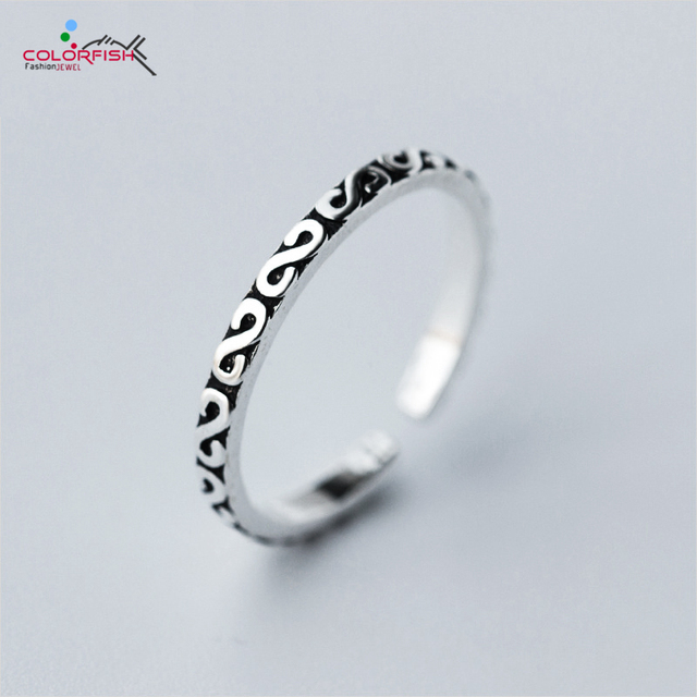 COLORFISH Genuine 925 Sterling Silver 2 mm Ring Full Engraving ...