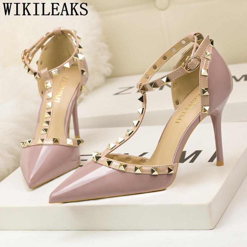 Women Wedding Shoes Mary Jane Shoes Women Sandals Rivet Office Shoes Women Fetish High Heels Tacones Altos Mujer Sexy Ayakkabi