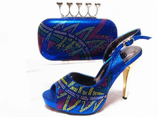 NEW ARRIVAL Free Shipping High quality Italian shoes with matching bags with Full Stones For Wedding