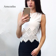 2018 summer white black New Women Lace hollow out Vintage Sleeveless Blouse White Black Elegant Crochet Casual Shirts Tops(China)