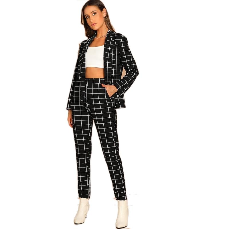 SHEIN Black Stretchy Grid Print Shawl Collar Plaid Long Sleeve Blazer Pants Set Women Autumn Workwear Morden Lady Twopiece 12