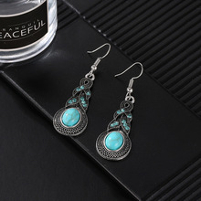 Brand design hot sales new fashion Personalized Cross Turquoise Silver plating long drop earrings jewelry for woman AJ373G