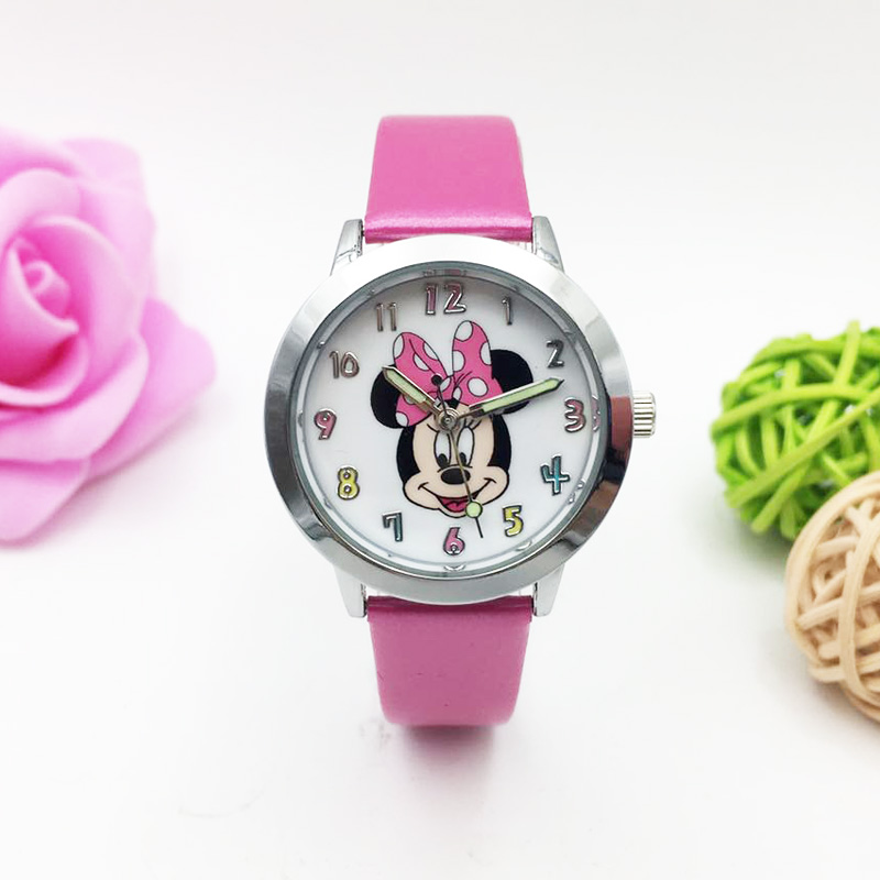 Cartoon Mouse Watches For Children Kids Girls Student Quartz Wrist Watch PU Leather Strap Luminous Hands Wristwatch