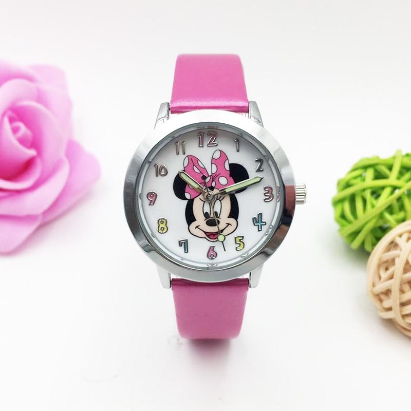 Cartoon Mouse Watches For Children Kids Girls Student Quartz Wrist Watch PU Leather Strap Luminous Hands Wristwatch