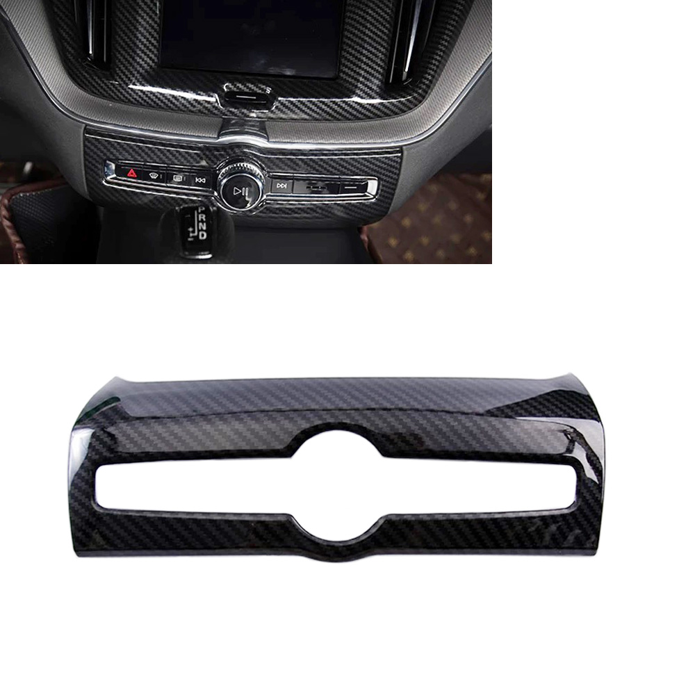 JEAZEA Car Styling Accessories ABS <font><b>Carbon</b></font> Fiber Interior Center Air Condition Adjustment Frame Cover Trim For VOLVO <font><b>XC60</b></font> 2018 image