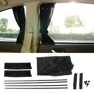 Image 2 - 1Set  Universal Black Mesh Interlock VIP Car Window Curtain Sunshade Visor UV Block