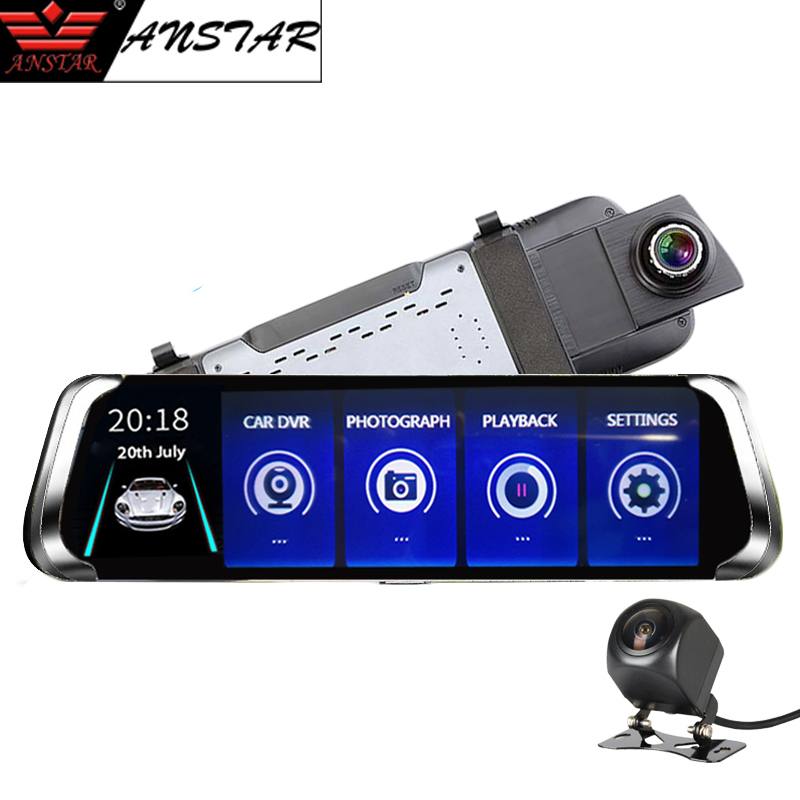 ANSTAR 10 Rear View Mirror Camera HD 1080P Car DVR Dual lens Dash Cam G-Sensor Night Vision Video Recorder Registrar Car Camera dual lens car dvr g30b front camera full hd 1080p external rear camera 720 480p h 264 g sensor dash cam two cameras