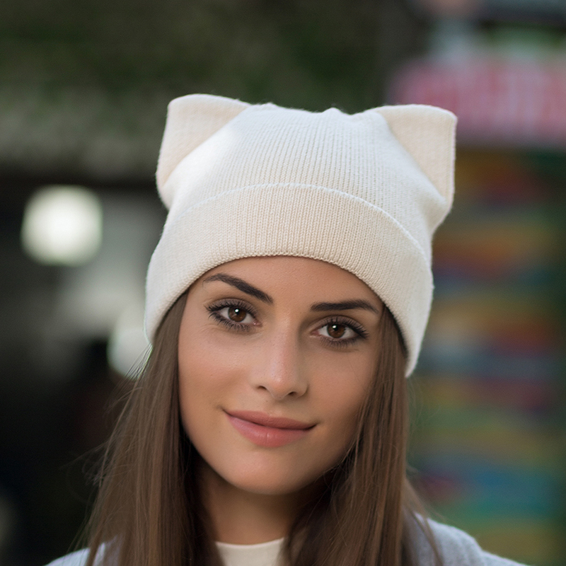 Women Winter Hat Cute Cat Beanie With Ears Wool Knitted Hats For Women Casual Slouchy Beanies Skullies Gorros