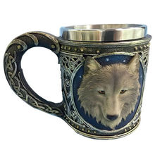 Horror 3D Realistic Wolf King Skull Mugs Double Wall Stainless Steel Animal Wolf Resin Mug Cup Geek Coffee Cup Birthday Gift