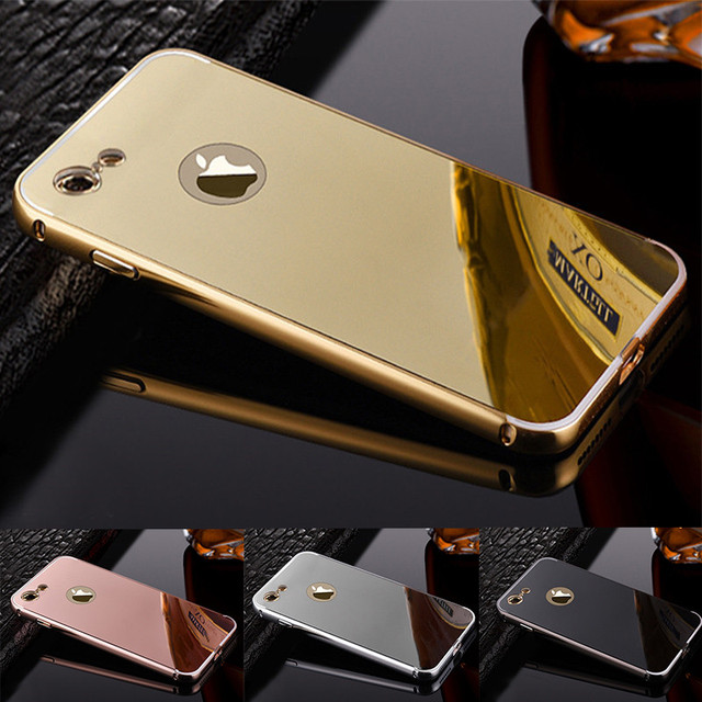 uk availability d553c 4d54c For Apple iPhone 5 5s Case Luxury Metal Aluminum+Acrylic Hard Mirror case  For iPhone 6 6S 7 plus 8 plus X XR XS Max Back Cover