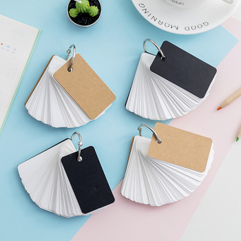 1pc Simple DIY Black Cardboard Cover White Blank Paper Card Memo Pad