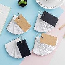 1pc Simple DIY Black Cardboard Cover White Blank Paper Card Memo Pad