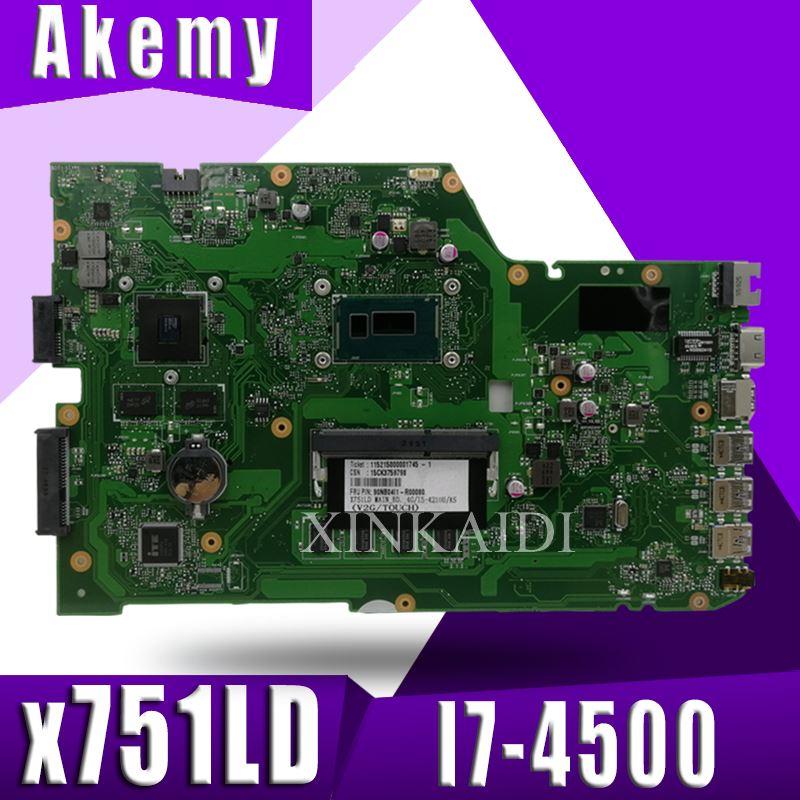 Bilgisayar ve Ofis'ten Anakartlar'de XinKaidi X751LD laptop anakart ASUS için R752L R752LN X751L X751LD X751LDV X751LN K751LNtest orijinal Mainboardi7 4500 GT820M