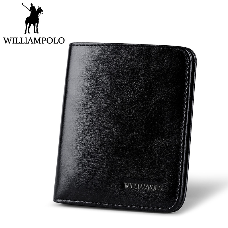 WilliamPOLO Classic Mini Wallet Men Purse Genuine Leather 2018 New 2 Fold Slim Wallet Card Holder For Man Minimalist Money Bag