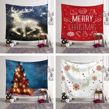 Merry Christmas Decoration Blanket Art Wall Hanging Tapestry Balloon XMAS Ornamental Wall Cover Party Tablecloth Large Bed Sheet