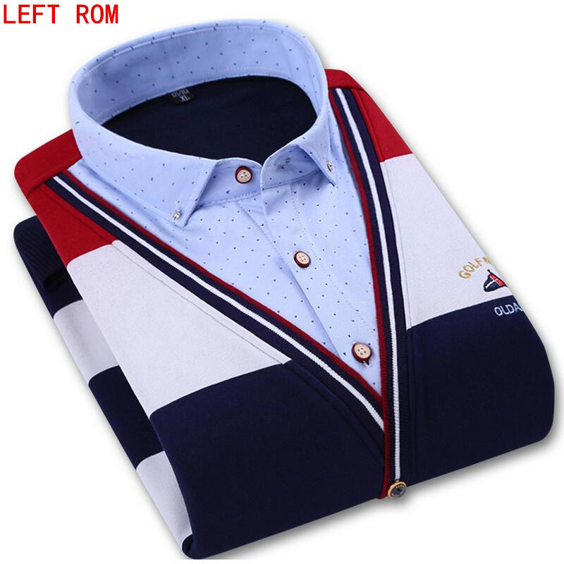 Men shirt winter Casual Knitted thickening warm shirt social masculina stripe Shirt chemise homme dress Long-sleeved shirt
